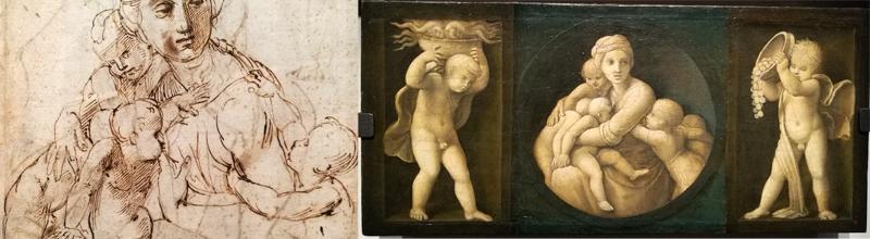 Desno: študija. Levo: končni izdelek.