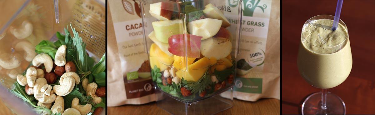 smoothie mango kopriva